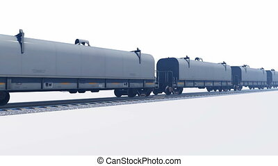 Freight train passing by on white