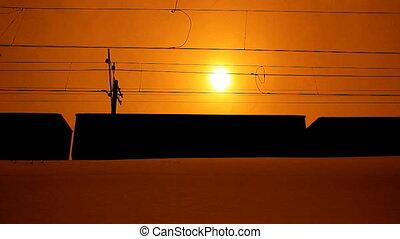 Freight train. sunset