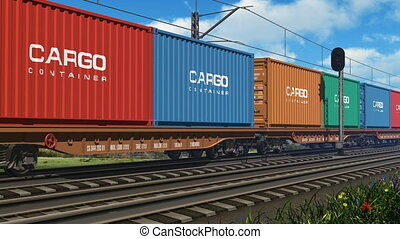 Freight train with cargo containers passing by All text labels and numbers on cargo containers are absolutely fictional