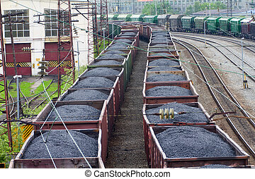 Freight train with color cargo containers