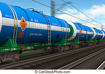 Freight train with petroleum tanks - Freight train with...