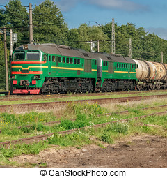 Freight train with tank wagons