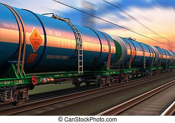 Freight train wtih petroleum tankcars - Cargo railway...