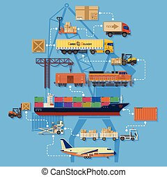Freight Transport and Logistics Infographics in Flat style...