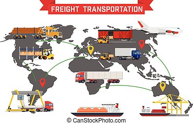 Freight Transport and Packaging Infographics - Vector...