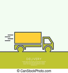 Freight transport. Concept delivery service. Truck delivers...