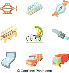 Freight transport icons set, cartoon style - Freight...