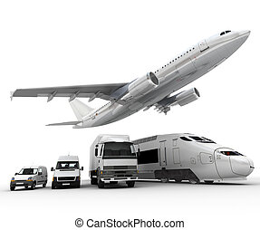 Freight transportation - 3D rendering of a flying plane, a ...