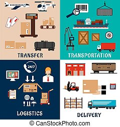 Freight transportation and logistics flat icons - Freight...