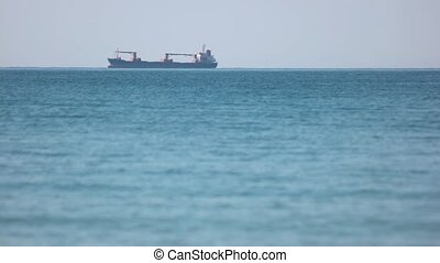 Freight transportation between countries. A large barge on...