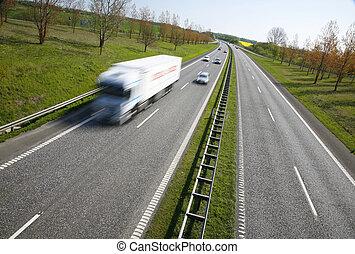 Freight transportation - Danish motorway - sunday spring...