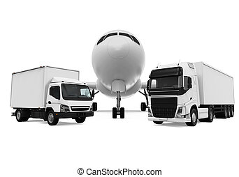 Freight Transportation isolated on white background. 3D...