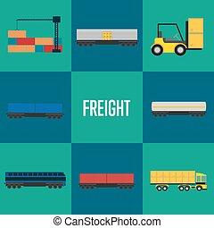 Freight transportation icon set