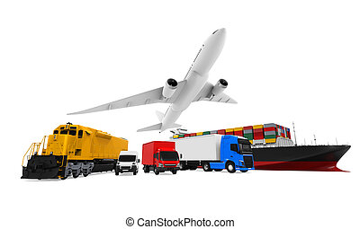 Freight Transportation isolated on white background. 3D ...