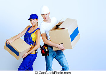 freight transportation - Portrait of a happy man and woman...