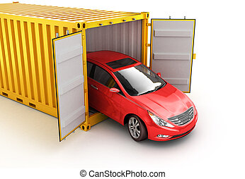 Freight transportation, shipment and delivery concept, red car inside yellow cargo container isolated on white