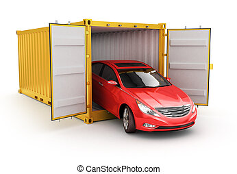 Freight transportation, shipment and delivery concept, red car inside yellow cargo container isolated