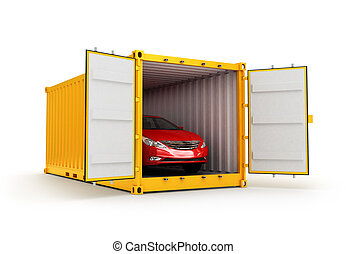 Freight transportation, shipment and delivery concept, red car inside yellow cargo container isolated on white background