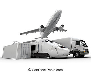 Freight transportation - 3D rendering of a flying plane, a...