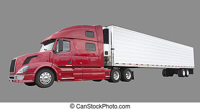 Freight truck with blank side for advertising, isolated on gray