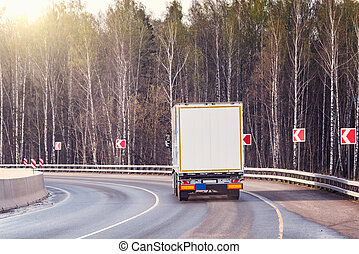 Freight truck on the road.