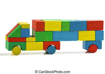 freight truck toy blocks, multicolor car wooden transportation