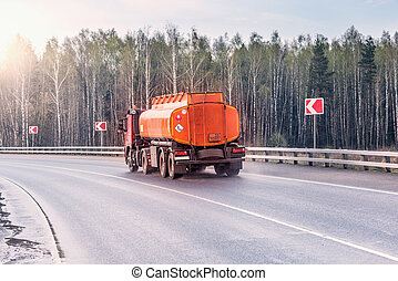 Freight truck with flammable liquid.