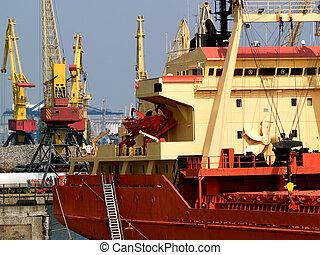 Freight Vessel in Harbor