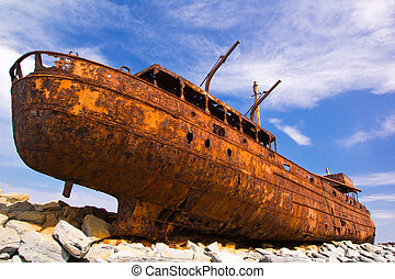 freight vessel was shipwrecked during a storm off the coast...