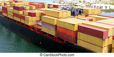 Freighter - An ocean going freighter loaded with many cargo...