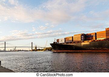 Freighter Heading Under Bridge