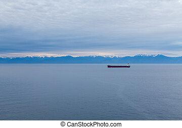 Freighter in Alaskan Dawn