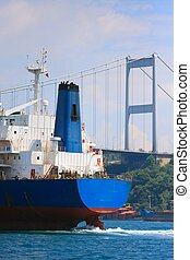 Freighter in the Bosporus Strait before trans-continental...