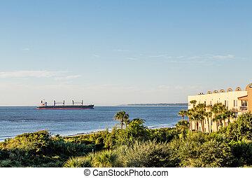 Freighter Near Tropical Condos
