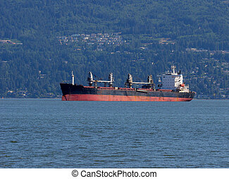 Freighter - Ship at anchour in Vancouver harbour