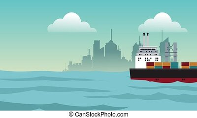 Freighter ship on the sea HD animation