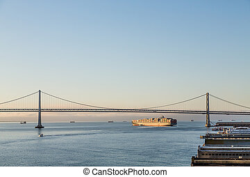 Freighter Under Bay Bridge