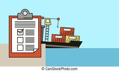 freighter with containers and checklist delivery service animation