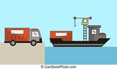 freighter with crane delivery service animation