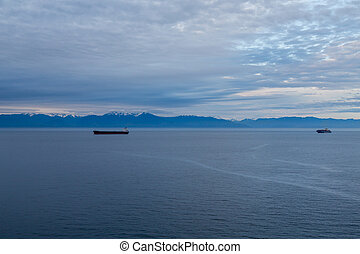 Freighters in Canadian Dawn
