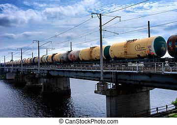 Freightliner oil goes over the bridge. Riga