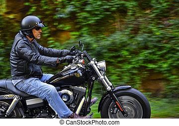 freiheit, hat, motorrad, mann