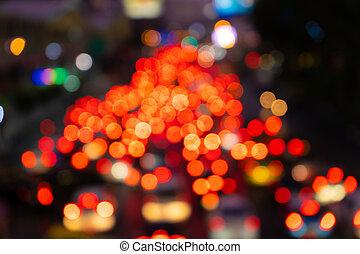 frein, lights., ville, nuit, large, rue., footage., trafic, flou, interchange., transport, confiture, dense, brouillé, traffic.