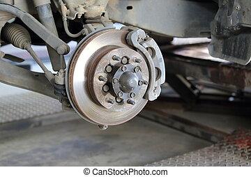 frein, réparation, montage, disque, devant
