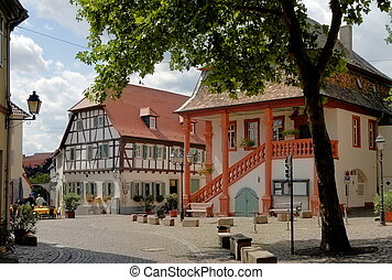 The tiny market square at the medieval town of Freinsheim in the Palatinate area of Germany was the site of hangings after revolts by farmers against the local nobility in the Middle Ages.