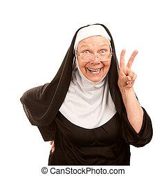 freira, engraçado, paz, fazer, sinal