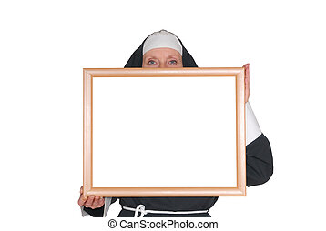 freira, irmã, anunciando