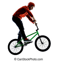 freistil, kunststück, hintergrund, akrobatisch, bmx, weißes, reiter, freigestellt, radfahren, radfahrer