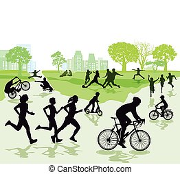 Freizeit-Park.eps - People in leisure time and sports