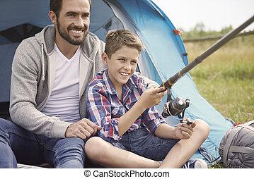 freizeit- tätigkeit, auf, der, sommer, camping